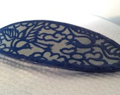 Hanji French Barrette Hair Pin Iron Blue Navy Intricate Bird Designs Sturdy Stainless Steel Barrette Handmade - HanjiNaty