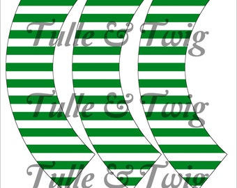 Green & White Stripe Cupcake Wrappers Printable INSTANT DOWNLOAD