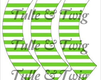 Lime & White Stripe Cupcake Wrappers Printable INSTANT DOWNLOAD