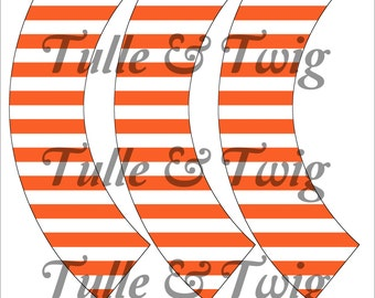 Orange & White Stripe Cupcake Wrappers Printable INSTANT DOWNLOAD