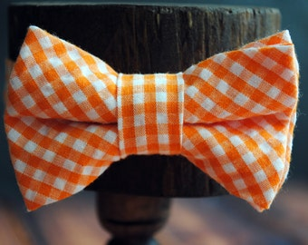 Bow Tie - Newborn, Infant, Toddler, Boy - Orange Gingham