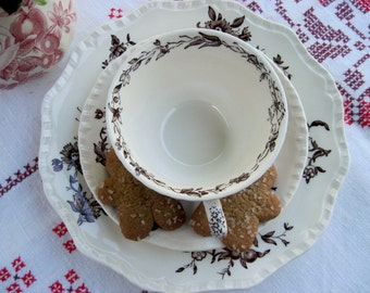 Mason's Brown and White Teacup, Saucer and Tea Plate