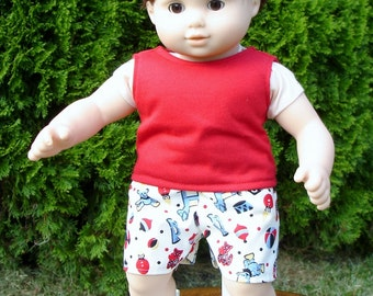 15 Inch Doll Clothes - Boys Toys Shorts and Tank Top Set made by Jane Ellen to fit 15 inch baby dolls