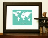 ENGAGEMENT GIFT - World Map for a long distance relationship, engagement, wedding, anniversary.