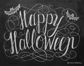 Happy Halloween Sign - Halloween Chalkboard Art - Halloween Decor - Black and White Halloween - Halloween Art - 11x14 Print - LilyandVal