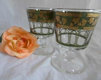 Pair of Mid Century Cera Glass Co Golden Grapes Goblets - Two Wine Glasses - Two Footed Tumblers - Green and Gold Glass - Mid Century Modern