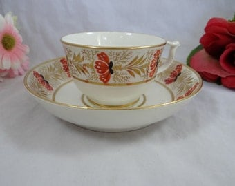 c1800 to 1825 Antique Royal Crown Derby English Bone China Teacup Hand Painted Teacup and Saucer - Incredible English Teacup