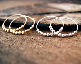 ricochet... gold or silver ball hoop earrings / 14k gold filled or sterling silver ball hoop earrings / mixed metal