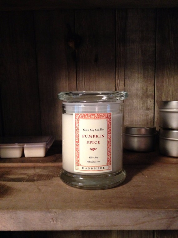 Pumpkin Spice Soy candle 12 oz libbey status jar 100% soy - autumn - winter- holiday candle- other scents available at checkout