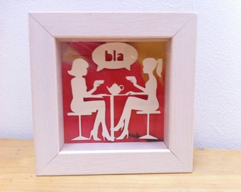 3D Handmade paper sculpture Friends & Tea