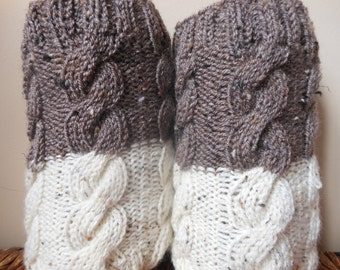 Hand Knitted Boot Cuffs Leg Warmers 2in1 Beige and Oatmeal