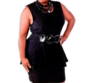 Women's Plus Size  Sleeveless Peplum Dress