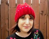 SALE Knitted Red Beanie Hat with Silver Studs