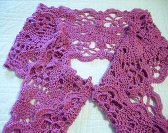 Crocheted Lacy Pink / Scarf / Wrap / Shawl