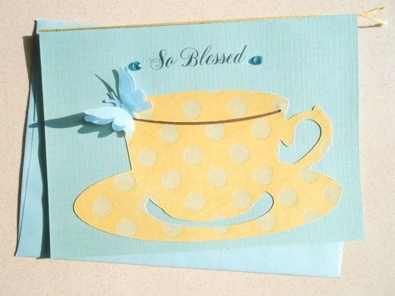 So Blessed Blue Card with Yellow Teacup and Saucer