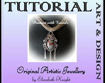 Wire Wrapping Step-by Step-Tutorial Turquoise pendant with Tassels Instant Download