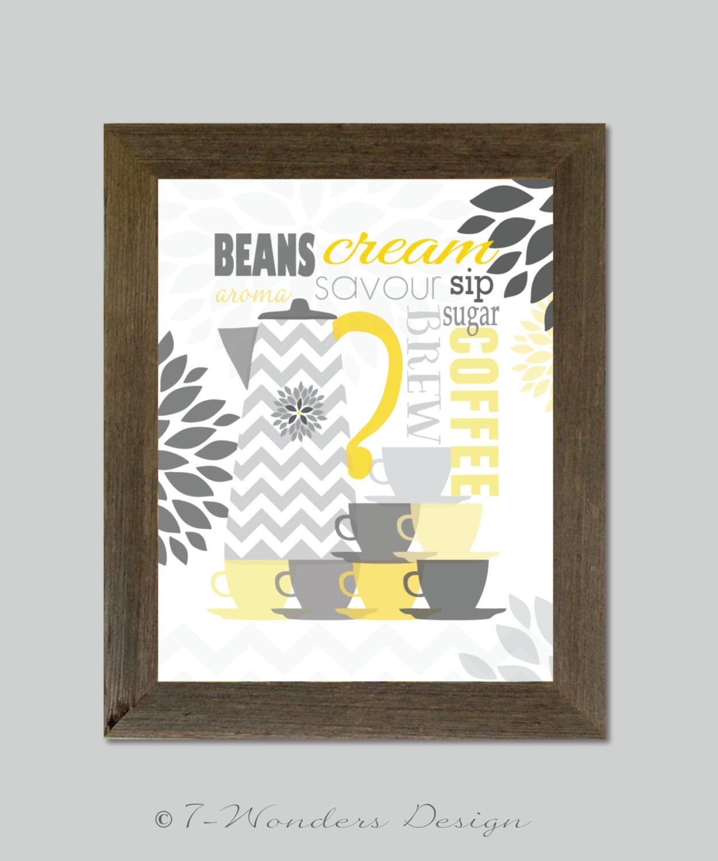 Modern Kitchen Art Set: Modern Kitchen Art Print Set Coffee Lovers Wall Art 8