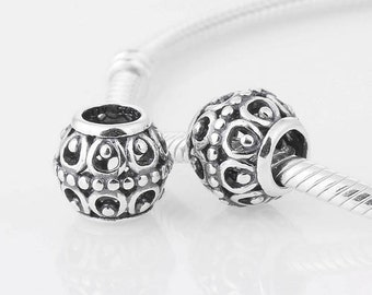 100% 925 Sterling Silver  Lovely Openworks Charm Bead Fit European Style Jewelry Bracelets & Necklaces LW234