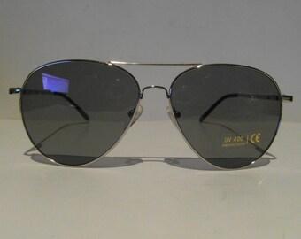 Vintage Shiny Silver Aviator Sunglasses
