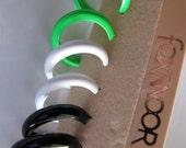 Vintage Hoop Earrings, Post Back,  Black, White, Green, NOS New Old Stock Costume Jewelry, Foxmoor