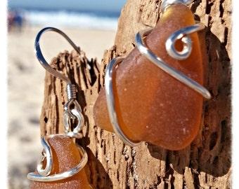 Amber seaglass Earrings