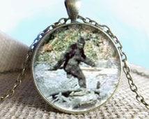 Bigfoot Image Pendant/Necklace Jewelry, Fine Art Necklace Jewelry, Bigfoot, Sasquatch Photo Jewelry Glass Pendant Gift
