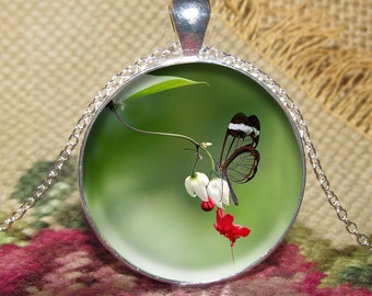 Butterfly Flower Pendant/Necklace Jewelry, Butterfly Necklace Jewelry, Butterfly, Flower, Photo Jewelry Glass Pendant Gift