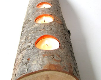 Split log tea light candle holder. Rustic Douglas Fir wood tea light candle holder.