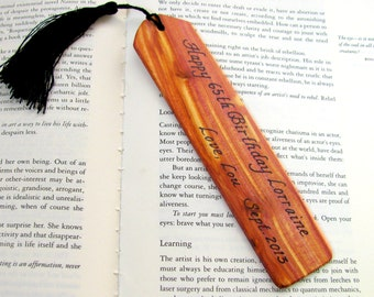 Customized juniper wood bookmark. Awesome economical gift.