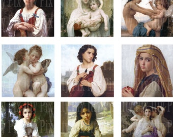 Digital Collage Sheet - Inchies - Bouguereau 1 inch square - Angels - Religious - Fine Art - Instant Download