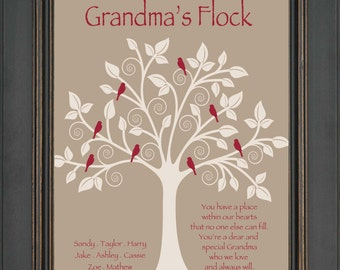 Grandma Gift- Family Tree - Personalized gift for Grandmother - Christmas Gift - Birthday Gift for Grandma - Can be made in other colors