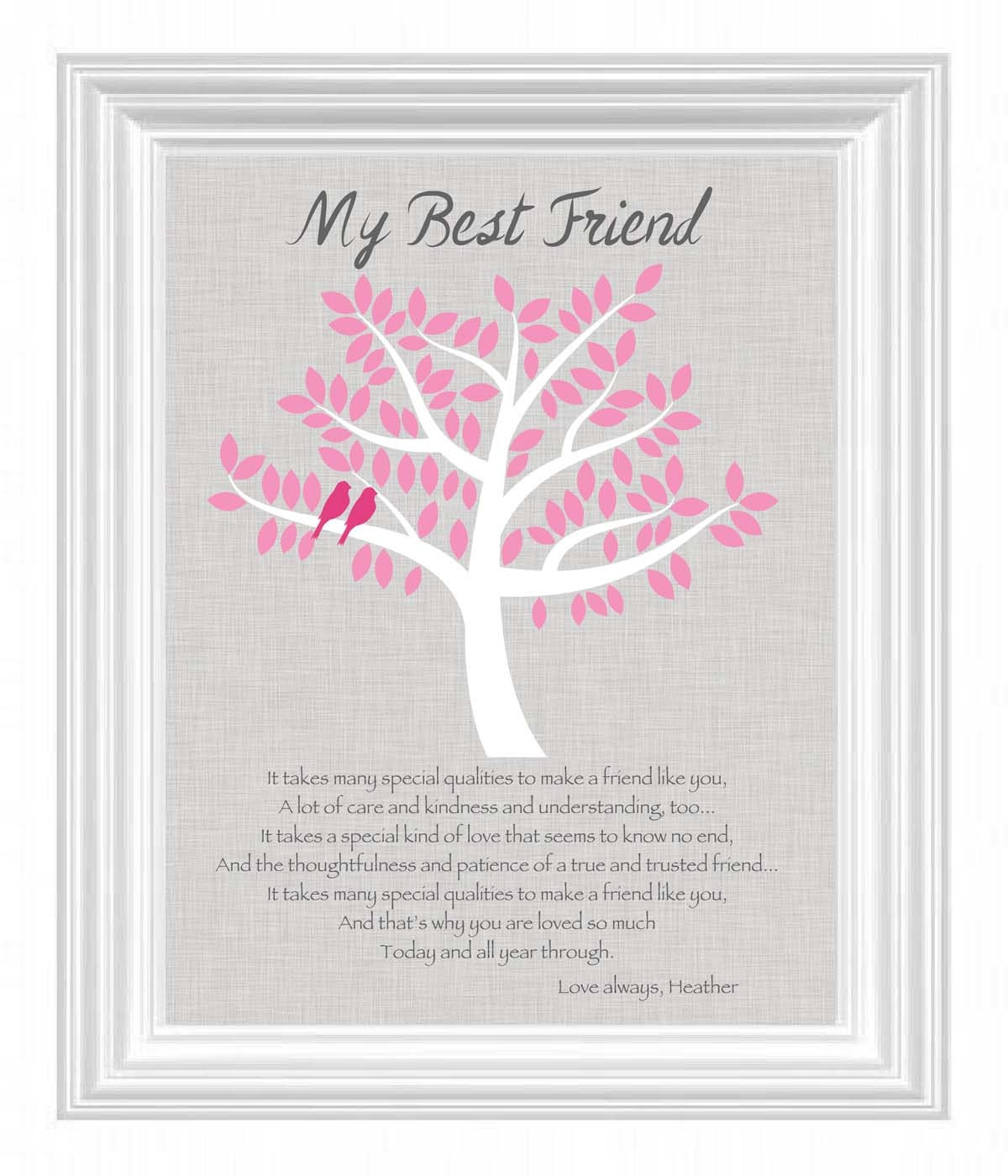 Wedding Gift Message For Best Friend : Best Friend Gift Personalized Gift for a Special Friend