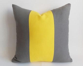 Decorative pillow Yellow Gray Throw pillow Pillow cover 22'' x 22'' (56 cm x 56 cm) Cotton Canvas Blend