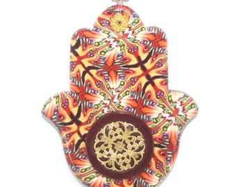 Wall decor Hamsa, great wedding gift, Polymer clay Hamsa, blessing and luck Hamsa, good fortune Hamsa in red, maroon and orange
