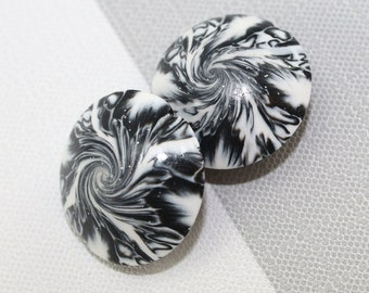 Focal beads in abstract pattern, craft supplies, swirl lentil beads in black, white and silver, elegant beads Set of 2