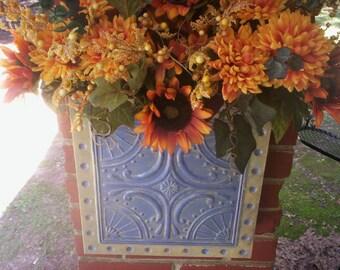 Shabby chic Fall flower wreath/Fall wreath/Thanksgiving Fall Door bucket wreath/Wall Bucket wreath/Fall door hanger/Mothers day door wreath.