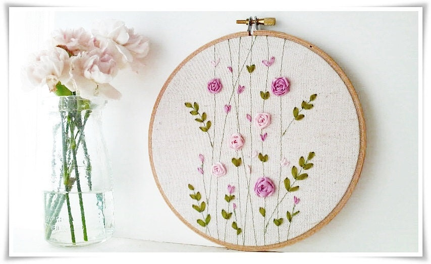 Ribbon embroidery hoop wall art pink rose garden spring