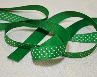 5/8 inch grosgrain ribbon green white polka dots 5 yards