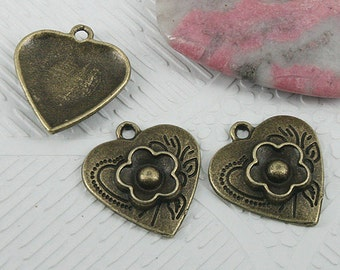 22pcs antiqued bronze color flower heart charms EF0627