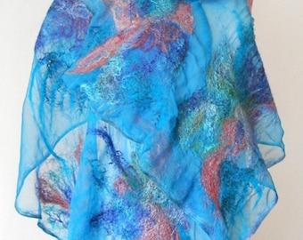 nuno felted silk scarf shawl wrap BLUE PINK handmade art to wear, silk wool scarf, nuno felt scarf, eco fashion by Kantorysinska