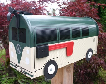 EXAMPLE - Custom Made To Order Volkswagen Bus Mailbox by TheBusBox - EXAMPLE - Choose Your Color - CustomBox Green Cream