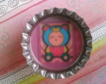 Kawaii bear costume bottlecap magnet
