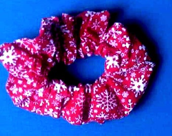Hand-Made Holiday Scrunchie - Snowflakes