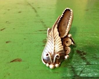 VTG Native American Sterling Silver Leaf Floral Ring (7)