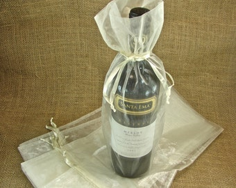 Organza Wine Bags - Ivory - Great for Wedding Wine Favors - 10 bags