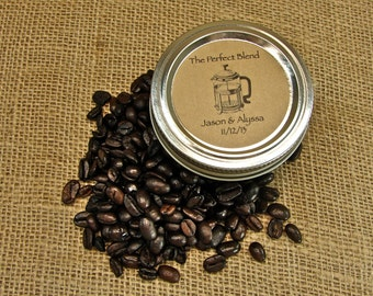 Wedding Coffee Favors - Mason Jar Wedding Favors - 20 Four Ounce Quilted Mason Jars - French Press Design