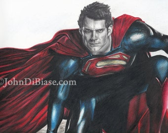 Drawing Print of Henry Cavill as Superman in Man Of Steel