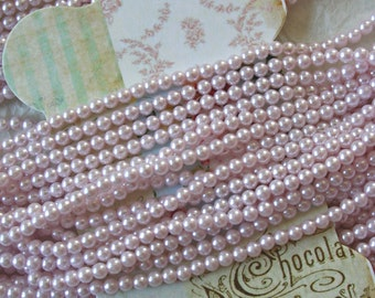 Vintage Bead Strings, Faux 4mm Pearls