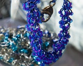 Shaggy Loops Bracelet With Radioactive 2-Toned Blue and Neon Purple Glass Beads and Silver Celtic Heart Clasp