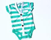 Baby Cardigan - Aqua Blue Stripe - Baby Shower - First Birthday - Coming Home